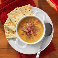 Smoky Split Pea Soup with PREMIUM PLUS Crackers